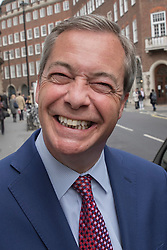 © Licensed to London News Pictures. 20/04/2017. London, UK. Former UKIP leader Nigel Farage is seen near Parliament after it was announced that Douglas Carswell will not contest his Clacton-on-Sea parliamentary seat in the geneneral election on June 8th 2017. Photo credit: Peter Macdiarmid/LNP