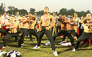 Hosea Gear leads the Haka with the gold medal winners New Zealand during the final of the medal competition of the Rugby Sevens between New Zealand and Australia held at Delhi University as part of the XIX Commonwealth Games in New Delhi, India on the 12 October 2010..Photo by:  Ron Gaunt/photosport.co.nz