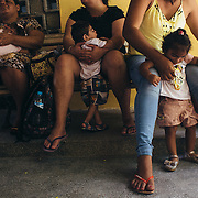 Mothers with children affected by congenital syndrome of Zika virus waiting to be received by the doctors of the Hospital Oswaldo Cruz. Many of these women come from inland areas of the state of Pernambuco, they must also do 2-3 hours of travel to get to the hospital, this 3-4 days a week. This causes them to lose their work.