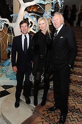 Left to right, HUGH MORRISON, AMANDA WAKELEY and HAROLD TILLMAN at the launch of the Claridge's Christmas Tree designed by John Galliano for Dior held at Claridge's, Brook Street, London on 1st December 2009.