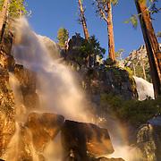 A photo of Eagle Falls above Lake Tahoe at sunrise in California.