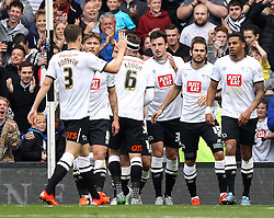 Derby County celebrate Chris Martin's goal - Mandatory byline: Robbie Stephenson/JMP - 07966 386802 - 03/10/2015 - FOOTBALL - iPro Stadium - Derby, England - Derby County v Brentford - Sky Bet Championship