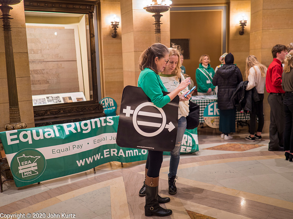 05 MARCH 2020 - ST. PAUL, MINNESOTA: About 75 people, mostly women, came to the Minnesota State Capitol to support ratification of the Equal Rights Amendment and mark the local observance of International Women's Day. International Women's Day is celebrated on March 8 around the world.    PHOTO BY JACK KURTZ