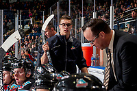 KELOWNA, CANADA - OCTOBER 27: Kelowna Rockets' equipment manager Chaydyn Johnson walks across the bench against the Tri-City Americans on October 27, 2017 at Prospera Place in Kelowna, British Columbia, Canada.  (Photo by Marissa Baecker/Shoot the Breeze)  *** Local Caption ***