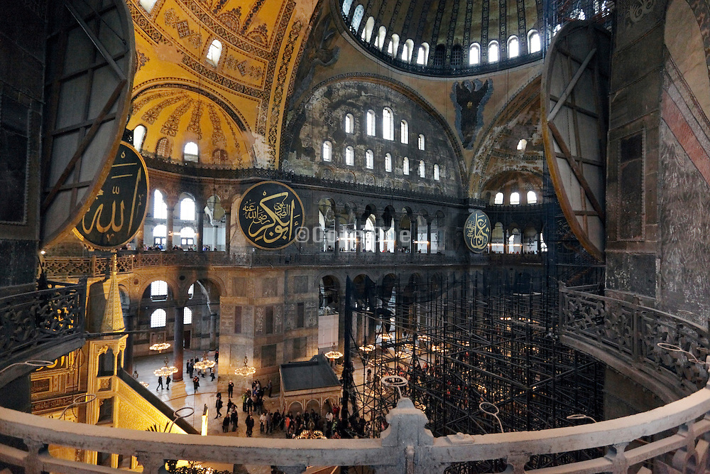 balcony interior view of Hagia Sophia in Istanbul