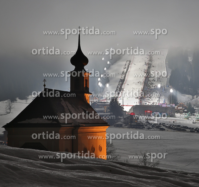 14.01.2014, Hermann Maier Weltcupstrecke, Flachau, AUT, FIS Ski Weltcup, Slalom, Damen, im Bild die Pfarrkirche Flachau und der Slalomhang, HDR // HDR-picture of the racehill and the church of Flachau during ladies Slalom of the FIS Ski Alpine World Cup at the Hermann Maier World Cup trackside, Austria on 2014/01/14. EXPA Pictures © 2014, PhotoCredit: EXPA/ Martin Huber