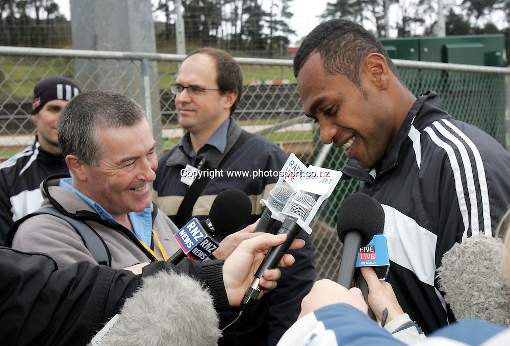 All Black winger Sitiveni Sivivatu talks to the media at the Ponsonby Rugby Club at Western Springs, Auckland, Monday 4 July,2005. Photo:Andrew Cornaga/PHOTOSPORT<br />