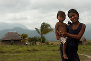Amerindian<br /> Nappi Amerinidian Village with Kanuku Mountains<br /> Rupununi<br /> GUYANA<br /> South America