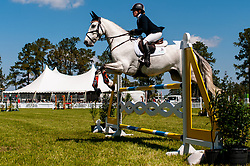 March 22, 2019 - Raeford, North Carolina, US - March 22, 2019 - Raeford, N.C., USA - SHARON WHITE of the United States riding COOLEY ON SHOW competes in the show jumping CCI-4S division at the sixth annual Cloud 11-Gavilan North LLC Carolina International CCI and Horse Trial, at Carolina Horse Park. The Carolina International CCI and Horse Trial is one of North AmericaÃ•s premier eventing competitions for national and international eventing combinations, hosting International competition at the CCI2*-S through CCI4*-S levels and National levels of Training through Advanced. (Credit Image: © Timothy L. Hale/ZUMA Wire)