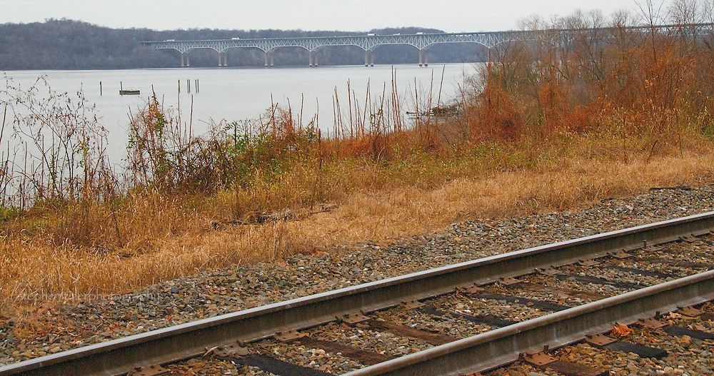Portion of rail line Southeast of the Millard E Tydings Memorial Bridge (US 95) between Susquehanna River and Frenchtown Road near Frenchtown, Maryland.