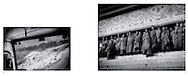 L:  Bus negotiates Chola (Xiao-er) Pass (4,916m), Kham, Tibet...R:  Gelukpa (Yellow Hat) monks atop steps of main prayer hall at Labrang Monastery, Amdo, Tibet.