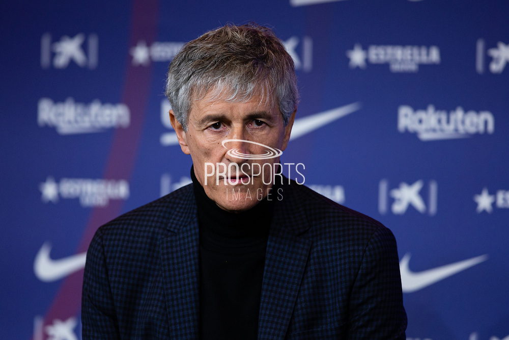 Presentation Quique Setien, new coach of FC Barcelona on January 14, 2020 at Camp Nou in Barcelona, Spain - Photo Marc Gonzalez Aloma / Spain ProSportsImages / DPPI / ProSportsImages / DPPI