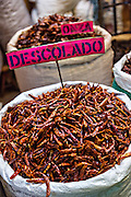 Dried red hot arbol chili pepper at Benito Juarez market in Oaxaca, Mexico.