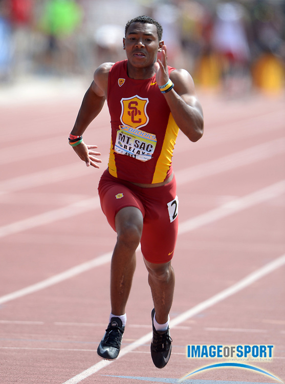 Apr 18, 2014; Walnut, CA, USA; Jovante Slater of Southern California places third in 100m heat in 10.54 in the 56th Mt. San Antonio College Relays at Hilmer Lodge Stadium.