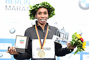 Gladys Cherono (KEN) poses after winning the women's race in 2:20.23 during the 44th Berlin Marathon in Berlin, Germany on Sunday, September 24, 2017. (Jiro Mochizuki/Image of Sport)