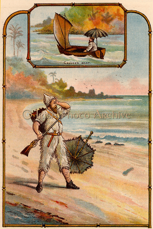 The Life and Strange Surprising Adventures of Robinson Crusoe' by Daniel Defoe.  First published in 1719, it is claimed to be the first English novel. Crusoe, having spent 15 years on the island without seeing another human, is astonished to see a footprint on the shore.    From 'Bubbles' c1900 published by Dr Barnados Homes for Children. Oleograph.