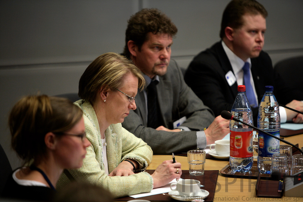 BRUSSELS - BELGIUM - 03 MAY 2007 -- A delegation from the Finnish Parliament are briefed at the EU Commission by Commissioner Olli Rehn. From left listening unknown person, MP Paivi LIPPONEN, MP Risto Autio, MP Janne Seurujarvi. Photo: Erik Luntang