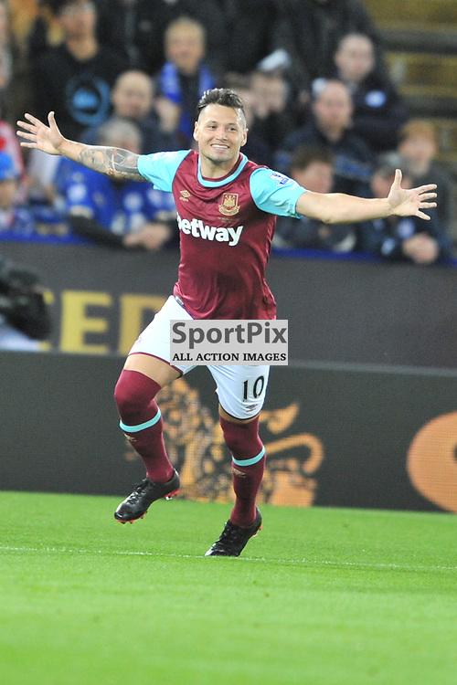West Hams Maruo Zarate Celebrates West Hams Equaliser, Leicester City v West Ham Utd, Carling Cup, King Power Stadium, Tuesday 22nd September 2015.