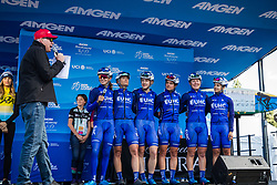 "May 18, 2018 - South Lake Tahoe, California, U.S - Friday, May 18, 2018.Emcee DAVE TOWLE introduces United Healthcare Pro Cycling Team (USA) prior to Stage 2 of the Amgen Tour of California Women's Race empowered with SRAM, which starts and finishes near Heavenly Ski Resort in South Lake Tahoe, California...BIB, NAME, NAT.1, HALL, USA.2, BANKS, GBR.3, HALL, USA.4, HANSON, AUS.5, PE""UELA, COL.6, THOMAS, USA (Credit Image: © Tracy Barbutes via ZUMA Wire)"
