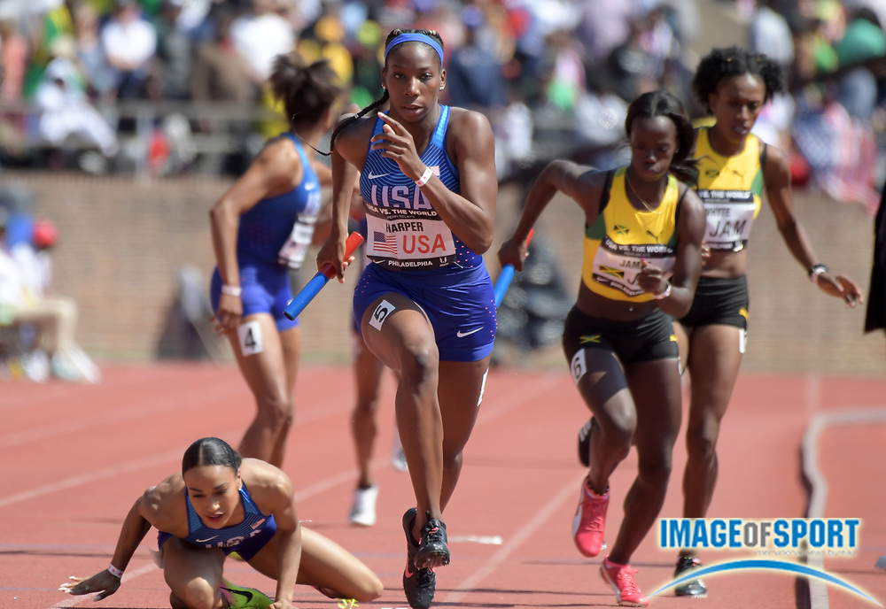 Apr 28, 2018; Philadelphia, PA, USA; Daina Harper runs the anchor leg on the USA Red women's 4 x 400m relay that won the USA vs. The World race in 3:26.73 during the 124th Penn Relays at Franklin Field.