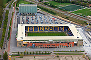 Nederland, Noord-Brabant, Breda, 09-05-2013; Parkeerplaats en voetbalstadion van NAC Breda, Rat Verlegh Stadion.<br /> Parking and football stadium NAC Breda, the Rat Verlegh Stadium in between motorways an railroads.<br /> luchtfoto (toeslag op standard tarieven)<br /> aerial photo (additional fee required)<br /> copyright foto/photo Siebe Swart