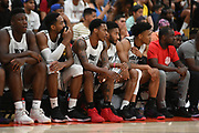 No Shnacks guard Deshon Taylor talks on the bench during a Drew League basketball game, Saturday, June 8, 2019, in Los Angeles.  (Dylan Stewart/Image of Sport)