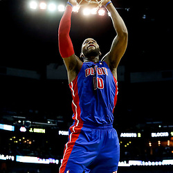 Dec 11, 2013; New Orleans, LA, USA; Detroit Pistons power forward Greg Monroe (10) dunks against the New Orleans Pelicans during the second half at New Orleans Arena. The Pelicans defeated the Pistons 11-106 in overtime. Mandatory Credit: Derick E. Hingle-USA TODAY Sports