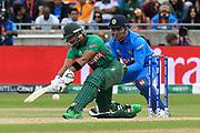 Sabbir Rahman of Bangladesh plays a sweep shot for four runs during the ICC Cricket World Cup 2019 match between Bangladesh and India at Edgbaston, Birmingham, United Kingdom on 2 July 2019.