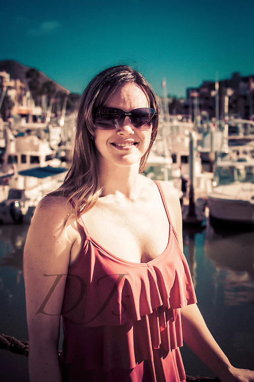 Beautiful woman at the marina in Cabo San Lucas, Mexico