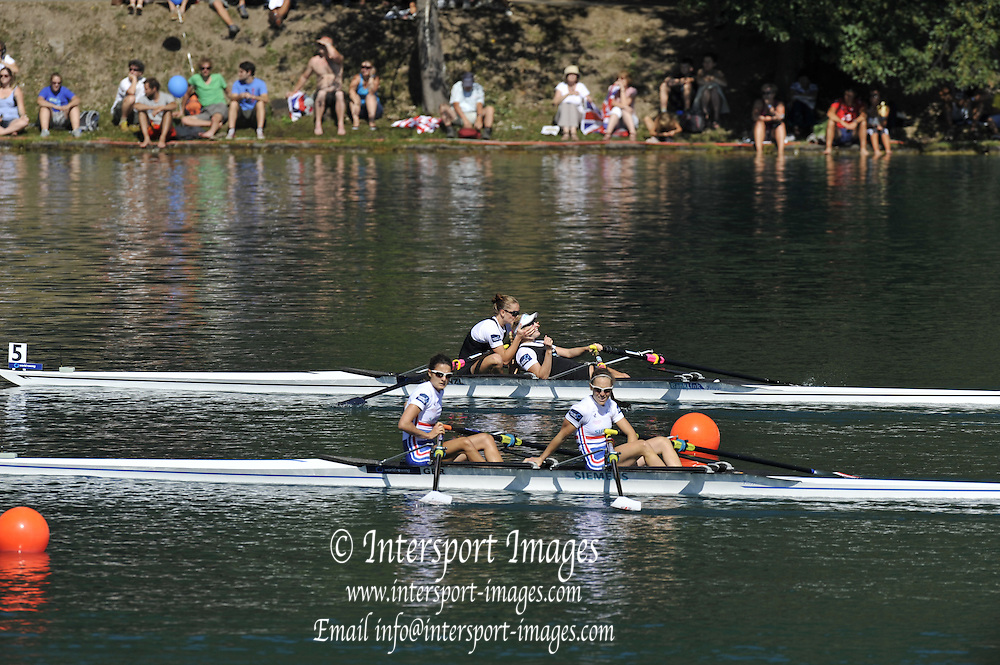 Bled, SLOVENIA.  GBR LW2X, Bow, Hester GOODSELL and Sophie HOSKING. Semi Final A/B.  Women's Lightweight Double Sculls. 2011 FISA World Rowing Championships, Lake Bled. Saturday  03/09/2011  [Mandatory Credit;  Intersport Images]