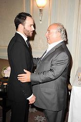Left to right, TOM FORD and SIR PHILIP GREEN at a dinner hosted by Vogue in honour of photographer David Bailey at Claridge's, Brook Street, London on 11th May 2010.