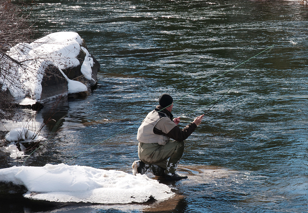 A fly fisherman makes a cast to a rising trout in the middle of winter.