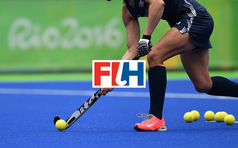 A USA player warms up during the Rio 2016 Olympics Games at the Olympic Hockey Centre in Rio de Janeiro on August, 8 2016. / AFP / MANAN VATSYAYANA        (Photo credit should read MANAN VATSYAYANA/AFP/Getty Images)