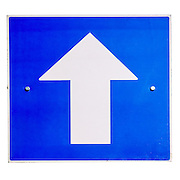 cut out of a One way traffic sign ob white background