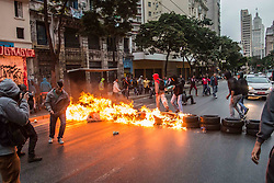 April 28, 2017 - Sao Paulo, Brazil - Demonstrator protest in Sao Brazil, on April 28, 2017 against Austerity measures proposed by President Michel Temer. (Credit Image: © Taba Benedicto/NurPhoto via ZUMA Press)
