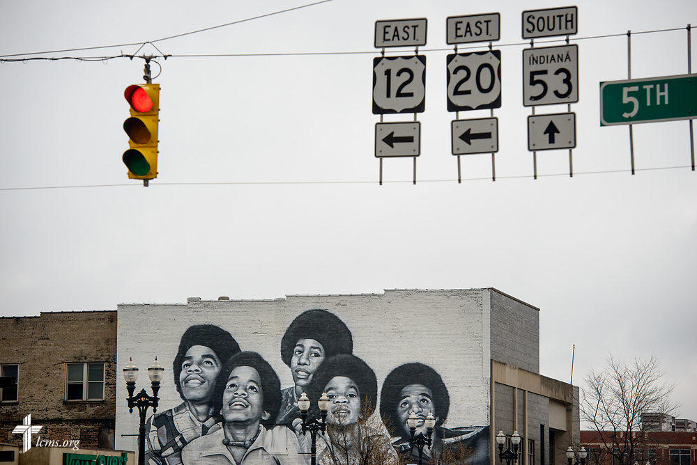 A mural of the Jackson family on Wednesday, April 5, 2017, in Gary, Ind. LCMS Communications/Erik M. Lunsford