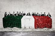 """""""L'ultima Cena"""" opera di street art del gruppo di artisti barese """"Paracity"""". Bari, 2 novembre 2013. Christian Mantuano / OneShot"""