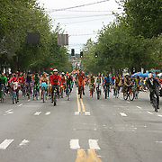 Annual Fremont Solstice pre-Parade with the painted cyclists.