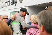 Chris Wood is congratulated by his parents during the BMW PGA Championship at Wentworth Club, Virginia Water, United Kingdom on 29 May 2016. Photo by Phil Duncan.