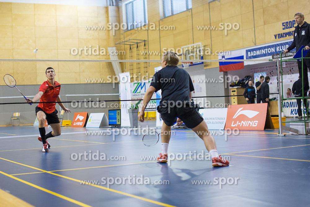 Alen Roj (BK Kungota) during 58th Slovenian national championship in badminton on Februar 1, 2015 in Zg. Kungota, Slovenia. (Photo By Grega Valancic / Sportida)