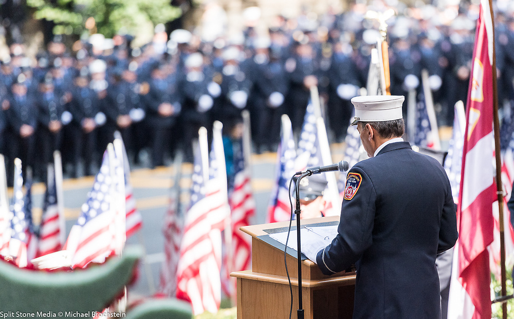 Annual reading of the names of the 343 New York City Fire Department (FDNY) firefighters who died at Ground Zero on September 11, 2001 at the Firemen's Memorial on the Upper West Side in New York, NY on September 11, 2017.