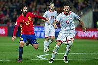 Spain's Isco Macedonia's Daniel Mojsov  during the match of European qualifying round between Spain and Macedonia at Nuevo Los Carmenes Stadium in Granada, Spain. November 12, 2016. (ALTERPHOTOS/Rodrigo Jimenez)