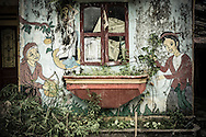 Weathering painted wall of a school in Thanh Kim Commune, Sapa District, Lao Cai Province, Vietnam, Southeast Asia