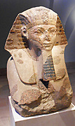 Statue in Granite of a sphinx showing the head of Queen Hatshepsut, Circa 1473 -1458 BC. Egyptian. Found at the Temple of Deir el Bahri.