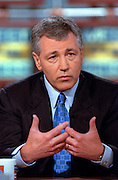 Senator Chuck Hagel discusses the situation in Kosovo during NBC's Meet the Press April 4, 1999 in Washington, DC.