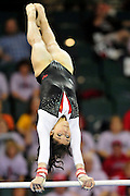 Nansy Damianova on the uneven parallel bars at the 2011 Women's NCAA Gymnastics Semifinals on April 15, in Cleveland, OH. (photo/Jason Miller)