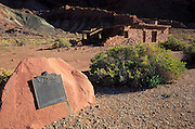 Afternoon light on the historic plaque and fort at Lees Ferry, Lees Ferry National Historic Site, Glen Canyon, Arizona
