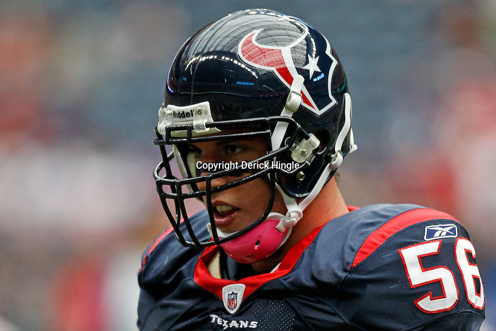 October 10, 2010; Houston, TX USA; Houston Texans linebacker Brian Cushing (56) during warm ups prior to kickoff of a game against the New York Giants at Reliant Stadium. The Giants defeated the Texans 34-10. Mandatory Credit: Derick E. Hingle