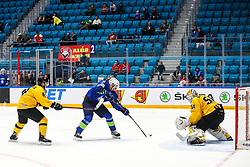 Bostjan Golicic of Slovenia vs Arturas Katulis of Lithuania and Mantas Armalis of Lithuania during ice hockey match between Slovenia and Lithuania at IIHF World Championship DIV. I Group A Kazakhstan 2019, on May 5, 2019 in Barys Arena, Nur-Sultan, Kazakhstan. Photo by Matic Klansek Velej / Sportida
