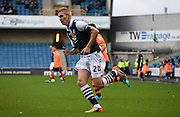 Steve Morrison closes down the play during the The FA Cup match between Millwall and Flyde at The Den, London, England on 7 November 2015. Photo by Michael Hulf.